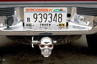 Pickup truck with skull trailer hitch  Baldwin Wisconsin WI USA