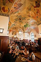 Tourists in a restaurant, Hofbrauhaus, Munich, Bavaria, Germany