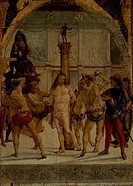 Flagellation of Christ by Luca Signorelli, oil on wood panel, 1441/50_1523 Italy, Milan, Pinacoteca di Brera