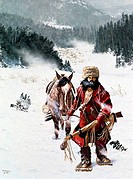 Mountain Man Leading His Horse Through The Snow 1980 Borack, Stanley1927_ American