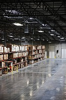 Stocked Shelves in a Factory Warehouse