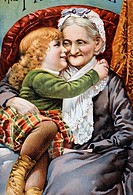 Child and Grandmother Nostalgia Cards Color Lithograph