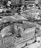 High angle view of a construction site of a building, United Nations Building, New York City, New York, USA