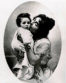 Mother Kissing Child by unknown artist, late 1800s