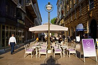 Bar terraces along Ante Starcevica street central Rijeka city by Gulf of Kvarner Croatia Europe