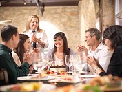 People celebrating in restaurant