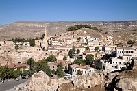 landscape and ayuali village, cappadocia, anatolia, turkey, asia