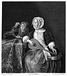 WOMAN TUNING A LUTE.Line engraving after a painting by Caspar Netscher (1639-84).