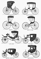CARRIAGE TYPES, c1860.Horse carriage types manufactured by G. & D. Cook & Company, New Haven, Connecticut. Wood engraving, c1860.