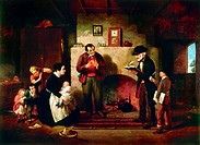 TAKING THE CENSUS, 1854.Oil on canvas by Francis William Edmonds, 1854.