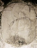 MEXICO: MAYAN RELIEF.Mayan priest accepting an offering. Bas-relief at Palenque, Chiapas, Mexico, 400-700 A.D.