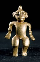 MEXICO: MAYAN GOLD FIGURE.Gold male figure. Mayan, 900-1250 A.D.