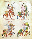 SPAIN: KNIGHTS, c1350.Knights of the joust. Manuscript illumination, Spanish, c1350.