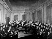 VIRGINIA: CONVENTION, 1830.James Madison addressing the Constitutional Convention for the State of Virginia. Oil on canvas, 1830, by George Catlin.
