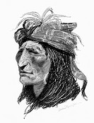 REMINGTON: CREEK MAN, c1906.'The Creek Indian.' Drawing by Frederic Remington, c1906.