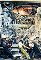 DIEGO RIVERA: DETROIT.Detail of Diego Rivera's mural at the Detroit Institute of Arts depicting the American automobile industry, 1932-33.