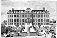 LONDON: MONTAGUE HOUSE.The north front and garden of Montagu (also known as Montague) House in Bloomsbury, London, later to become the first home of t...