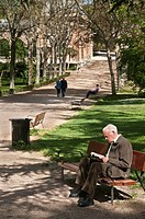 Reading in the Retiro Park, Madrid, Spain
