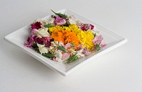 A variety of edible flowers on a small white square plate Flowers inclide marigold,cornflower,pansies,nasturtiums and snapdragons Edible flowers are u...