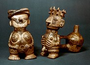 ANDEAN FIGURES.Ceramic whistling water jars in the shape of a man and a woman, found in the Piura region of Peru.