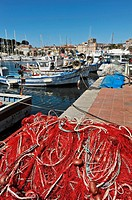 Sanary sur Mer, Var, Provence, France, fishing net in the port