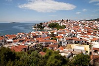 cityscape Skiathos Town on Skiathos Island, Northern Sporades, Greece