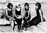 ATLANTIC CITY: WOMEN.Four New York bathing beauties at the carnival in Atlantic City, New Jersey. Photograph, c1922.