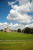 England, London, Blackheath. All Saints Church and Royal Parade at Blackheath Vale.