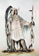CATLIN: MANDAN CHIEF, c1832.Four Bears, chief of the Missouri River Mandans. Painting by George Catlin, c1832.