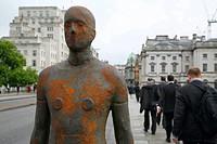 England, London, Waterloo Bridge. One of Anthony Gormley´s Event Horizon sculptures on Waterloo Bridge.