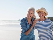 Senior women on beach (thumbnail)