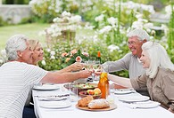 Couples toasting wine glasses at table in garden
