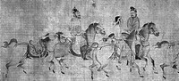 CHINA: MOUNTED WARRIORS.Three mounted warriors and a riderless horse. Left detail of a handscroll, Ming Dynasty, early 15th century. Ink on silk.
