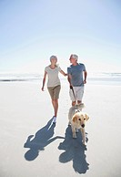 Senior couple with dog walking on beach