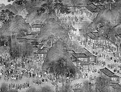 KAIFENG: STREET SCENE.Street scene in the Northern Sung capital of Kaifeng, China. Detail from a Ming Dynasty silk handscroll, 16th-early 17th century...