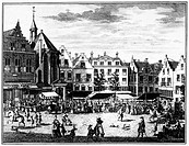 THE HAGUE: MARKET, 1727.The vegetable market held each morning in front of the chapel of St. Nicholas Hospital in The Hague, the Netherlands. Line eng...