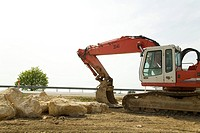Digger at a construction site, Germany