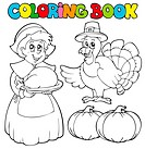 Coloring book Thanksgiving theme _ isolated illustration.