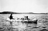 OJIBWA FAMILY, c1913.A family of Ojibwa Native Americans in a canoe. Photograph, c1913.