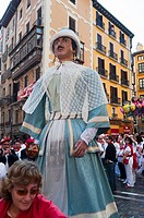 Parade of Giants and Big-heads, San Ferm&#237;n street-partying, Pamplona, Navarra Navarre, Spain, Europe