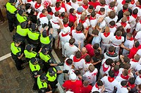 Policemen organizing bull runners sectors, San Ferm&#237;n street-partying, Pamplona, Navarra Navarre, Spain, Europe