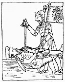 FRANCISCO PIZARRO(c1470-1541). Spanish conquistador. The assassination of Pizarro in Lima, Peru, 1541, by a supporter of Diego de Almagro. Pen and ink...