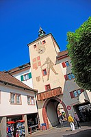 Travel, Geography, Architecture, Culture, History, Europe, Switzerland, Baselland, Liestal, Town, Tower, Gate, Facade, Day, People, Vertical