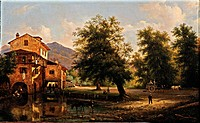 A mill, by Canella Giuseppe, 1844, 19th Century, oil on canvas