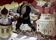 RUSSIAN REVOLUTION, 1917.Allegorical depiction of a Bolshevik leading the Russian Revolution of 1917. Painting, 1929.