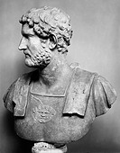 HADRIAN (76-138 A.D.).Roman emperor, 117-138 A.D. Portrait bust of the Emperor Hadrian wearing a breastplate embellished with a winged head, represent...