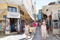 Shopping along Pandrossou Street, Central Bazaar, Monastiraki, Athens Greece