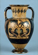 GREEK VASE, c530 B.C.Black-figure chalcidian amphora by the Phineus painter, c530 B.C. Height: 11.5 inches.