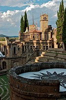 Scarzuola Gardens and Architecture, Great Theatre and auditorium, with Acropolis in background, in late afternoon sun