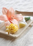 Flower and pebbles on tray